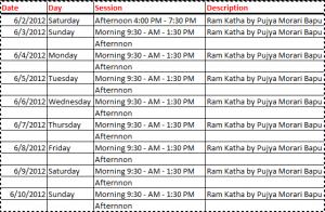 katha schedule
